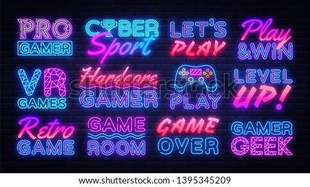 Gaming neon signs set design template. Big Collection Game Signs neon, light banner design element colorful modern design trend, night bright advertising, bright sign. Vector illustration