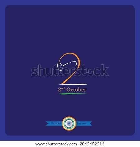 gandhi jayanti line drawing vector illustration with blue background