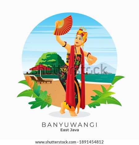 gandrung dance from Banyuwangi East Java Indonesia Foto stock ©