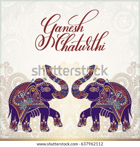 ganesh chaturthi greeting card design with two elephant, hand written lettering and gold floral background, vector illustration