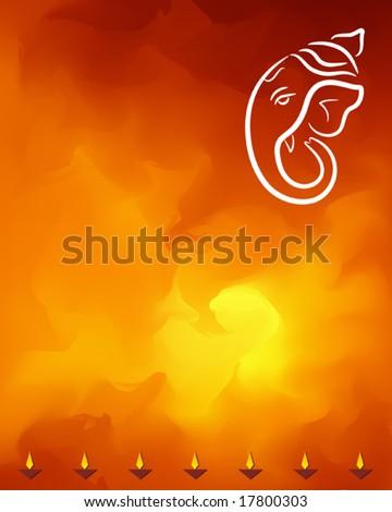 Ganesha and diya festival abstract background