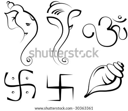 Ganesha, Swastica, Shankh (conch,)