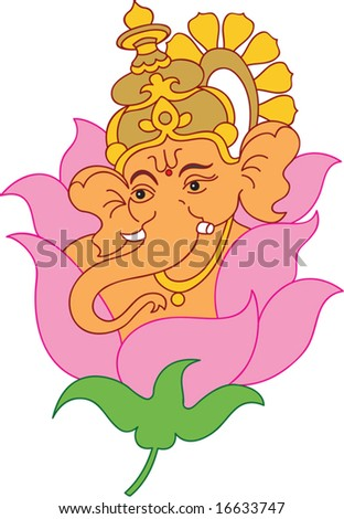 ganesha with lotus  kamal