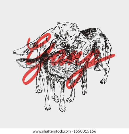 Gang slogan with wolf pack illustration Сток-фото ©