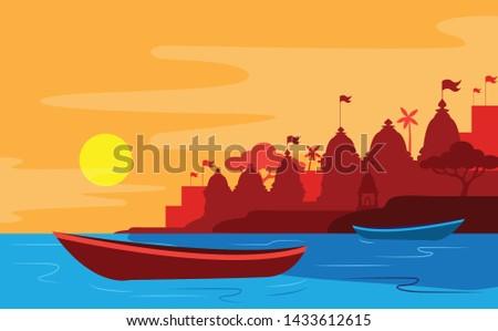 Ganga river Varanasi beautiful river bank Foto stock ©