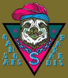 gangsta sloth in triangle with chain