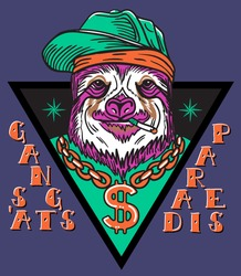 gangsta sloth in triangle with chain and baseball cap