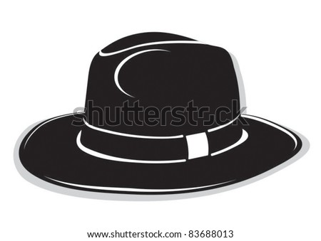 gangster black hat on the white