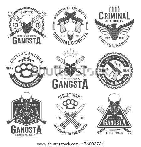 gangster black white emblems of
