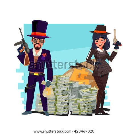 gangster couple with money