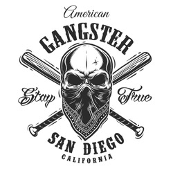 Gangster emblem, label, print, badge with skull in bandana and crossed baseball bats