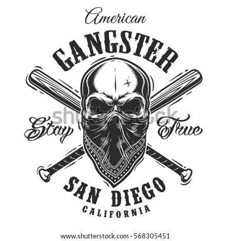 gangster emblem  label  print