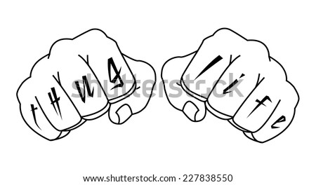b21d743cf Gangster fists with thug life fingers tattoo. Man hands outlines vector illustration  isolated on white