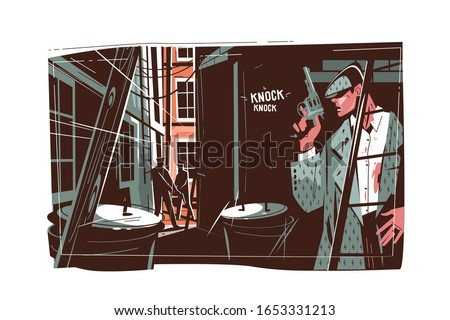 Gangster hiding in dark vector illustration. Criminal with gun lurking behind wall. Police officers with weapons looking for malefactor flat style concept