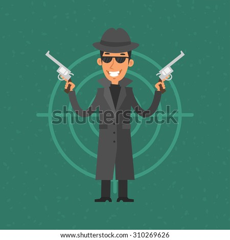 gangster holding gun and smiling