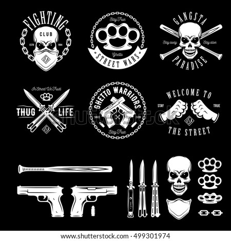 gangster labels badges emblems