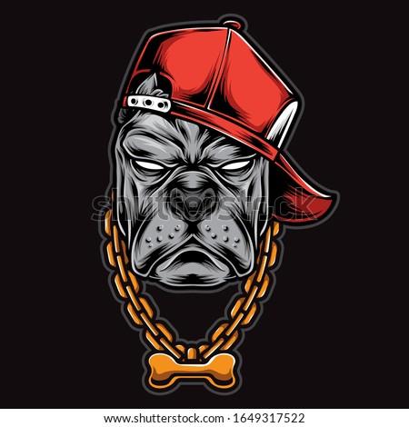 gangster pitbull head vector logo Stock photo ©