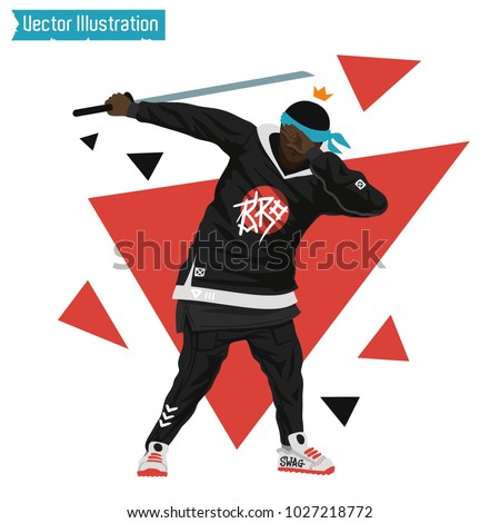 Gangster rapper with katana sword. Cover rap album, element of advertising fashionable youth clothing. Brutal swag guy holding a sword. Samurai, DUB dance sign. Vector illustration on white background