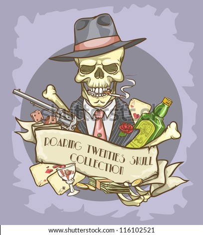 Gangster's skull logo design - Roaring Twenties Skull Collection