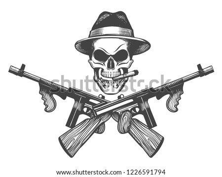 submachine gun download free vector art stock graphics images Vintage Tommy Gun death head with cigar hat and crossed submachine guns vector