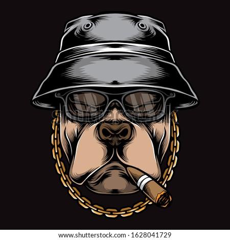 gangster smoking pitbull vector logo Stock photo ©