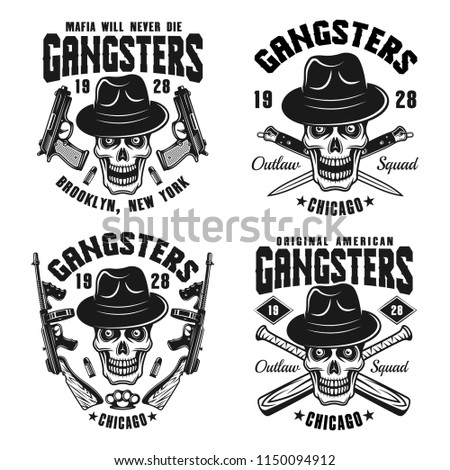 gangsters set of four vector