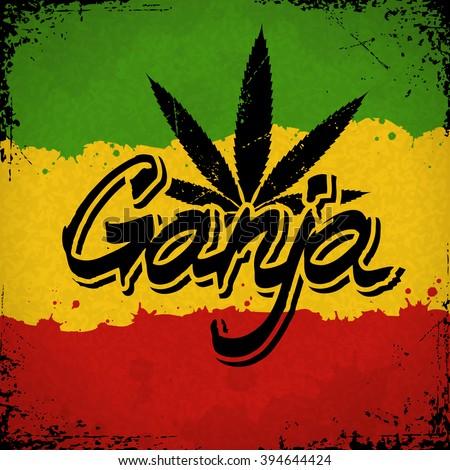 ganja lettering poster vector