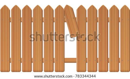 Gap in the fence - wooden textured picket fence with broken plank and loophole to slip through, escape, flee, take off, break free, slip away, sidle off - isolated vector illustration on white backgro