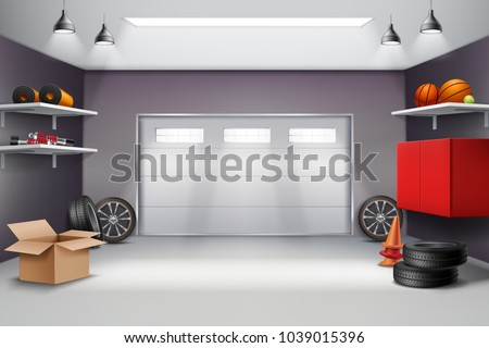 Garage interior in grey color realistic composition with sports equipment, automobile wheels, road cones 3d vector illustration