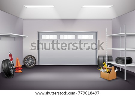 Garage interior realistic composition with tyres and instruments realistic vector illustration