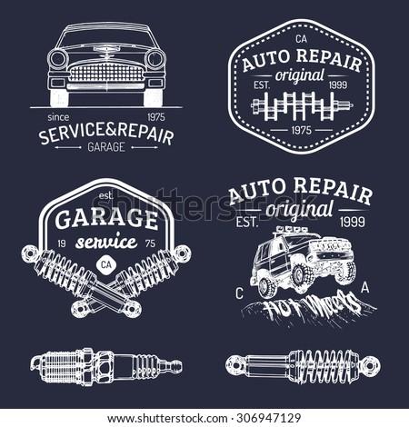 garage logos set car repair
