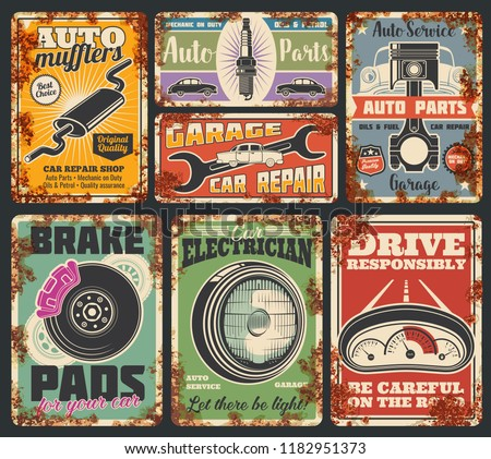 Garage or car repair service rusty metal banner. Vehicle mechanic workshop. Vintage automobile, wheel and piston, spanner, spark plug and engine part retro grunge poster, transportation design