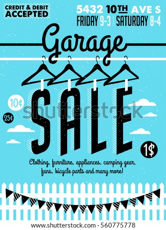 garage or yard sale with signs  ...