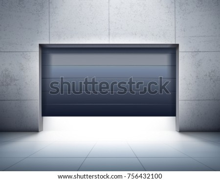 Garage realistic composition with grey tiled walls and floor and opening of dark shutter door vector illustration
