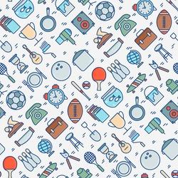 Garage sale or flea market seamless pattern. Thin line vector illustration for background of banner, web page, print media.