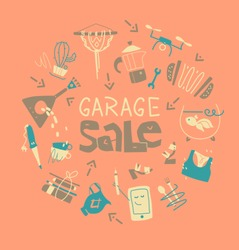 Garage Sale. Reuse, mindful living, eco living. Geyser coffee maker, kitchenware, musical instruments, drone, handmade items. Poster or banner template.