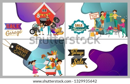 Garage Sale, Sellers sell old goods low price clearing house spring, used clothes and shoes, Man sells spare parts tires for cars. Children bought boxed second hand toys vector illustration