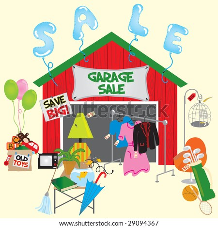 Clip Art Garage Sale http://www.shutterstock.com/pic-29094367/stock-vector-garage-sale-with-signs-and-household-items.html