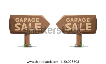 Garage sale wooden sign vector