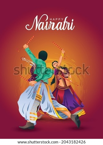 Garba Night poster for Navratri Dussehra festival of India. vector illustration design  of couple playing Dandiya dance.