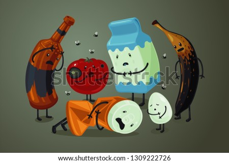 Garbage and trash cartoon character. Spoiled food illustration. Landfill vector background. Products with expier date.