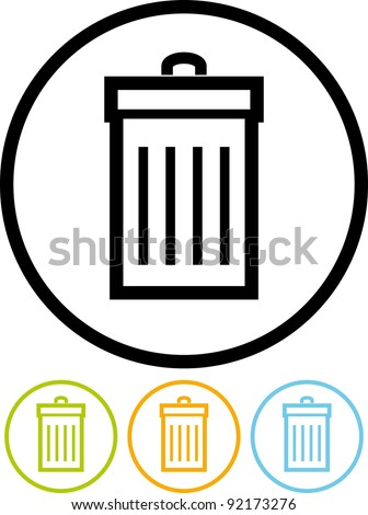 Garbage can - Vector icon isolated on white