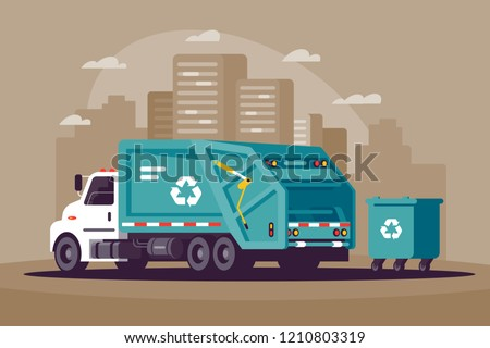 Garbage collection in the city in the garbage truck. Concept city cleaning, urban bussines, transport, vehicle. Vector illustraion.