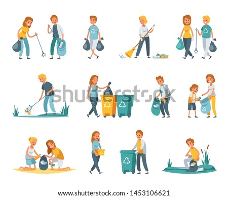 Garbage collection sorting recycling flat set with people picking up litter rubbish outdoor cleaning nature vector illustration Сток-фото ©
