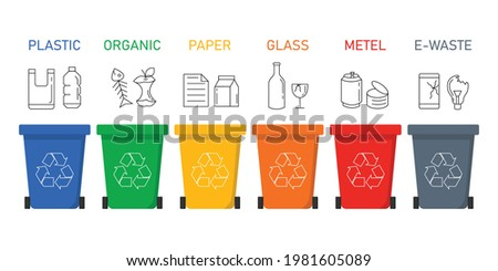 Garbage different types icons. Waste separation plastic,paper,metal,organic,glass,e waste. recycling infographic. isolated on white background. vector illustration in flat style modern design. Foto stock ©