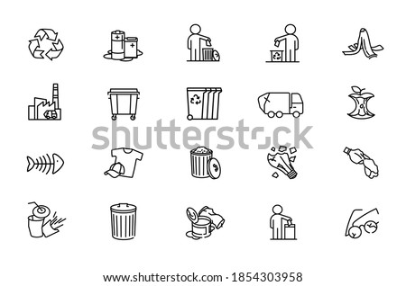 Garbage disposal. Garbage separation, waste sorting with further recycling. Vector icons with editable lines for posters and infographics. Photo stock ©