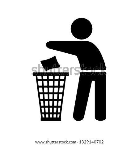 Garbage element silhouette of a man throwing trash into a basket on the white background.