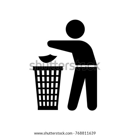Garbage element silhouette of a man throwing trash into a basket on the white background, vector illustration