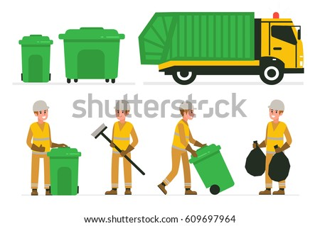 garbage man at work vector