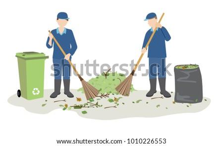 garbage man or janitor sweeping